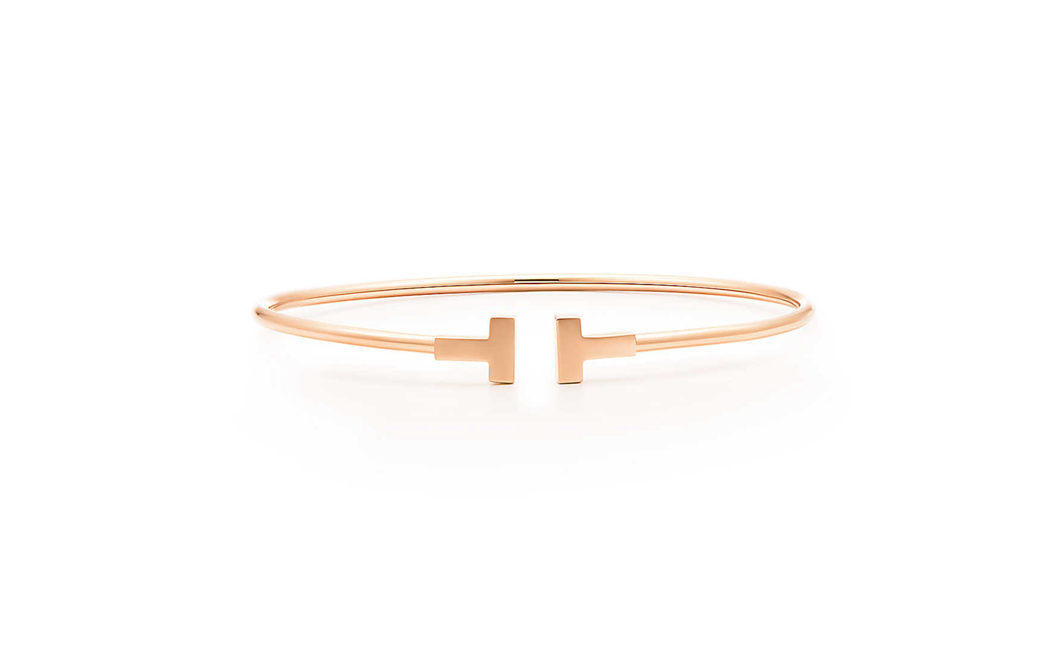 Tiffany T Narrow Wire Bracelet in Rose Gold