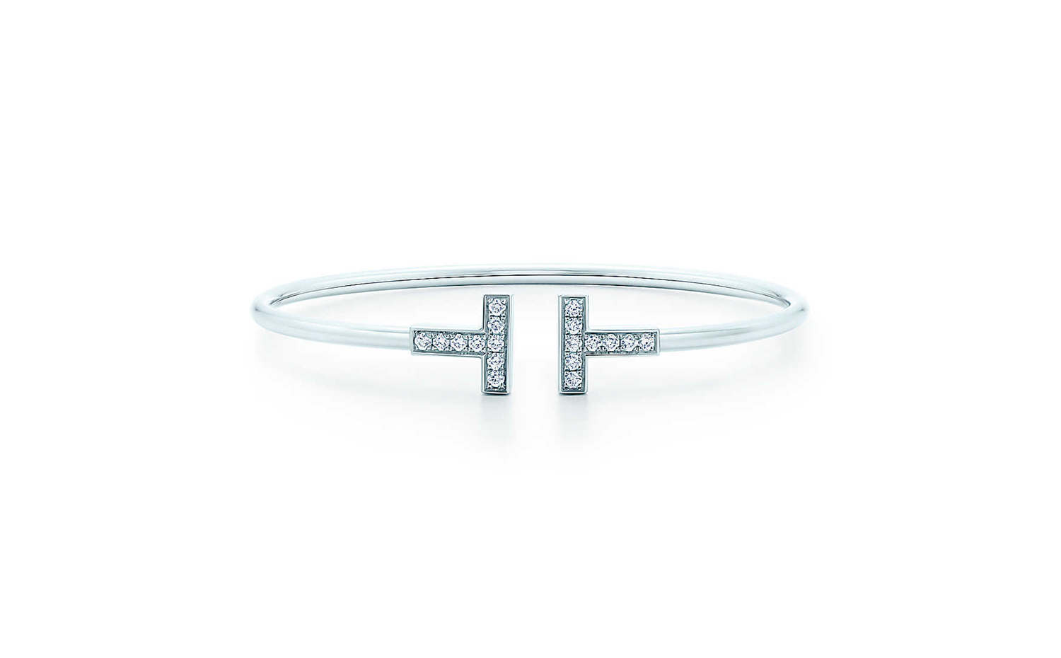 Tiffany T Wire Bracelet in White Gold